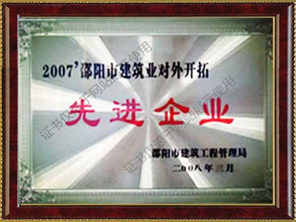 2007邵阳市建筑业对外开拓先进单位