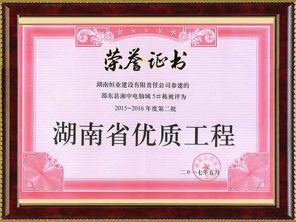湖南省优质工程(邵东县湘中电脑城)