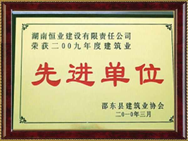 2009年度邵東縣建筑業先進單位