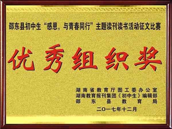 """07邵东初中生""""感恩,与青春同行""""主题读刊读书活动征文比赛优秀组织奖"""