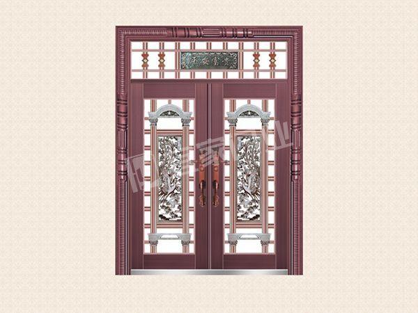 YJ-6039铝艺花枝对开门(真紫铜)