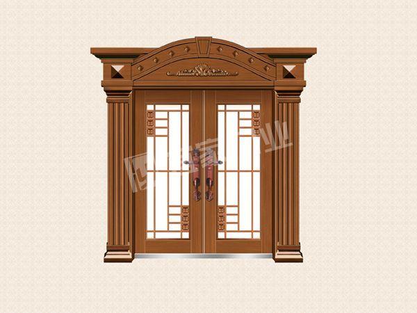 YJ-8016铁艺花枝对开门(仿紫铜)