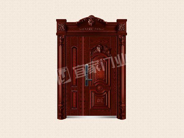 YJ-9020普菲圣堡子母门(精雕红橡木)