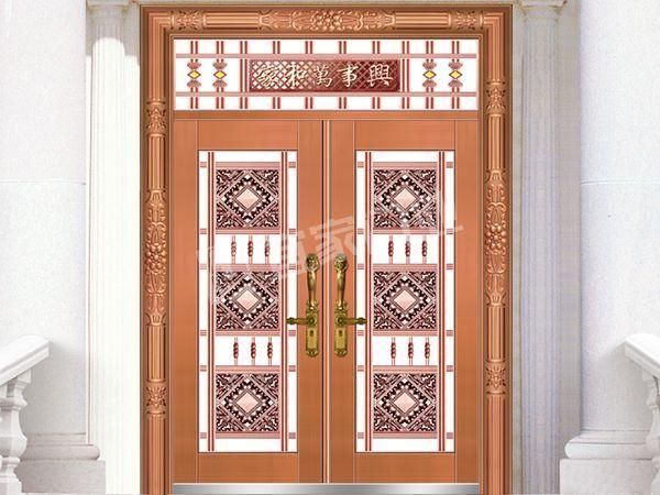 YJ-6033铝艺花枝对开门(真黄铜)