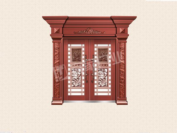 YJ-8011铝艺花枝对开门(真红铜)