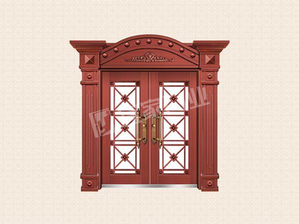 YJ-8012铁艺花枝对开门(真红铜)