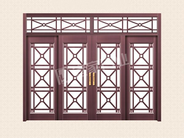 YJ-2007推拉四开子母拼接门(真紫铜)