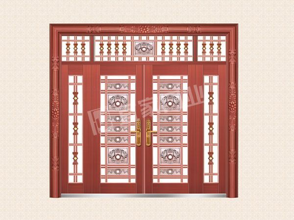 YJ-6029铝艺花枝四开子母门(真红铜)