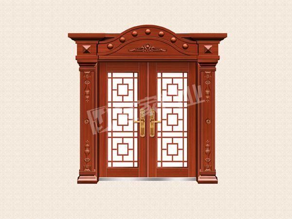 YJ-8015铁艺花枝对开门(仿红铜)