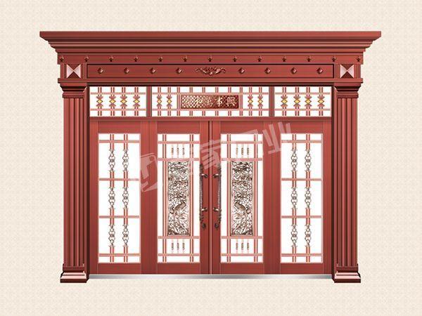 YJ-8008铁艺花枝对开门(真红铜)