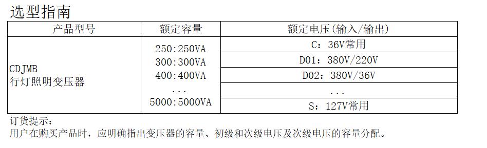 CDJMB系列行燈照明變壓器-產品詳情