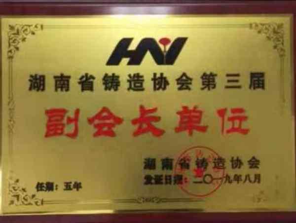 湖南省鑄造協會第三屆副會長單位