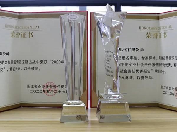 """公益大爱!德力西电气荣获2020浙江省企业社会责任""""重磅大奖"""