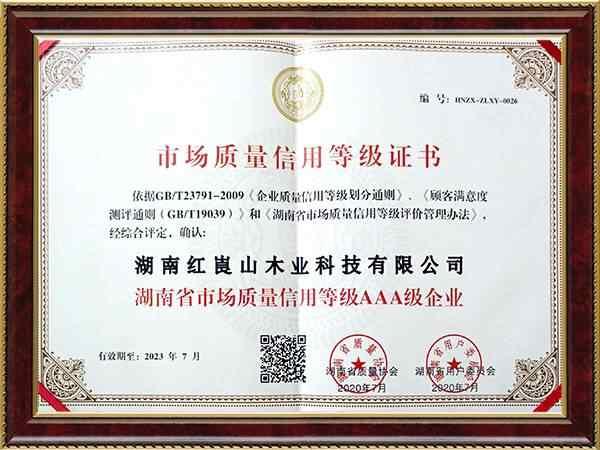 市场质量信用登记证书