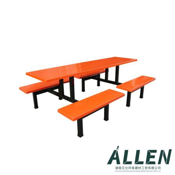 玻璃钢8人分段条椅餐桌椅